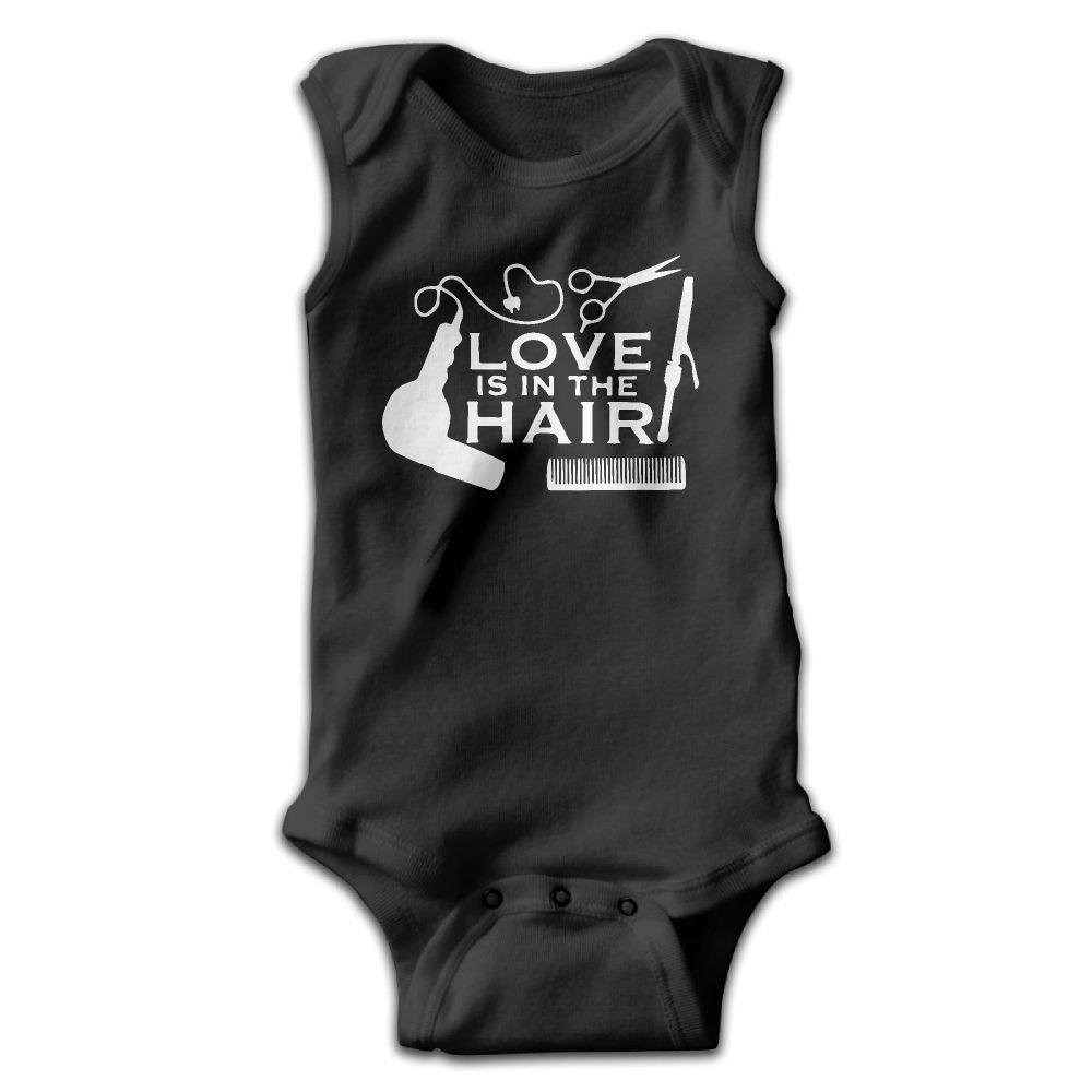 Love is in The Hair Baby Newborn Infant Creeper Sleeveless Romper Bodysuit Onesies Jumpsuit Black
