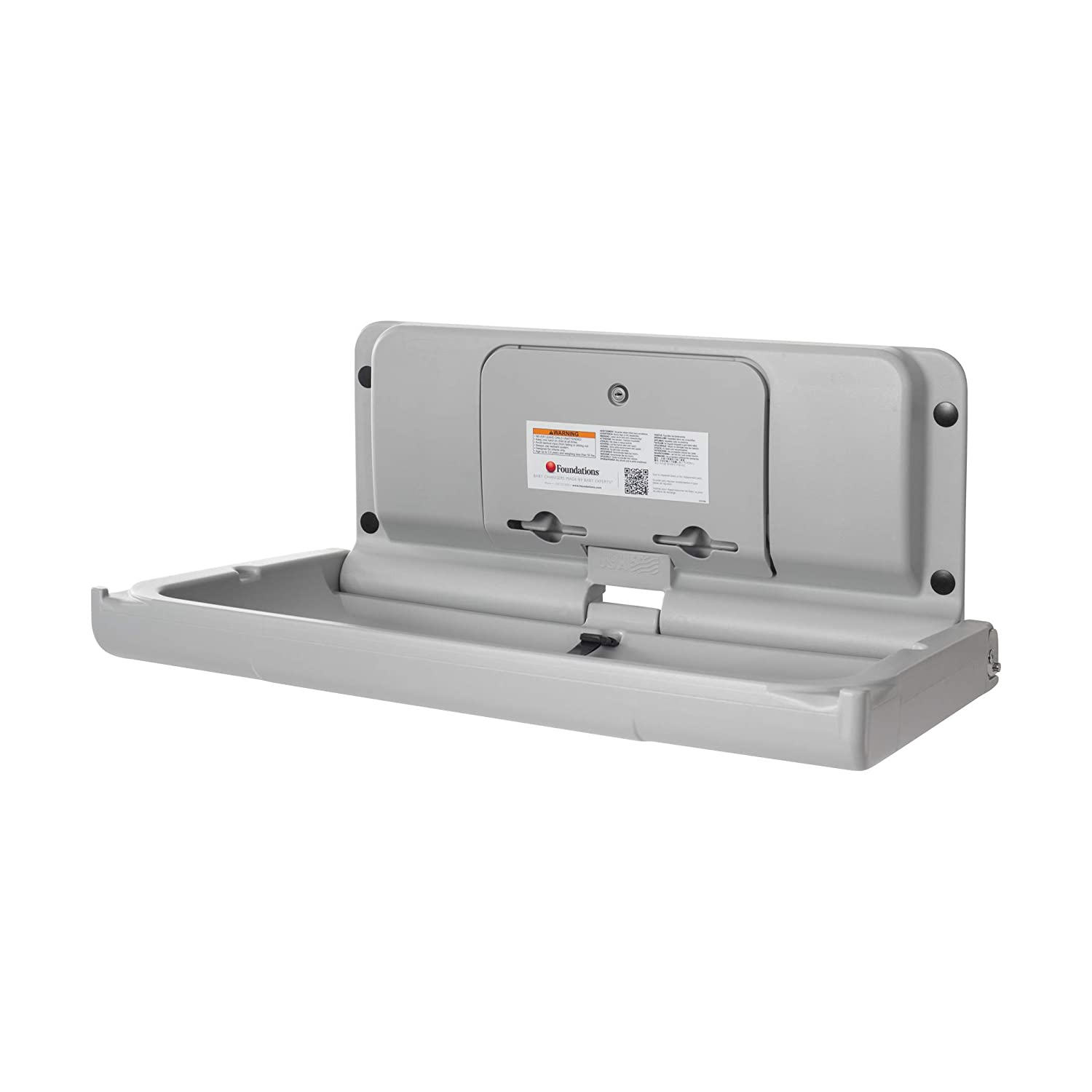 Foundations Ultra 200-EH Horizontal Wall-Mounted Baby Changing Station Black//Stainless