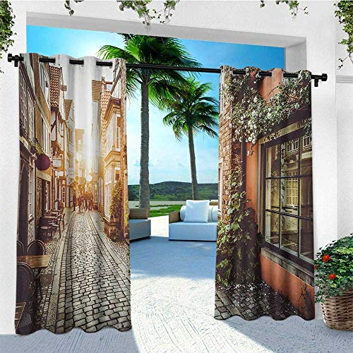 leinuoyi City, Outdoor Curtain Waterproof, Old Town Photography Europe Scenes Vintage Buildings Cafes Cool Architecture, for Patio Waterproof W72 x L108 Inch Brown Pale Orange