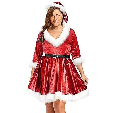 WARMWORD Disfraz Miss Santa Navidad Vestido Capucha Cosplay Traje ...