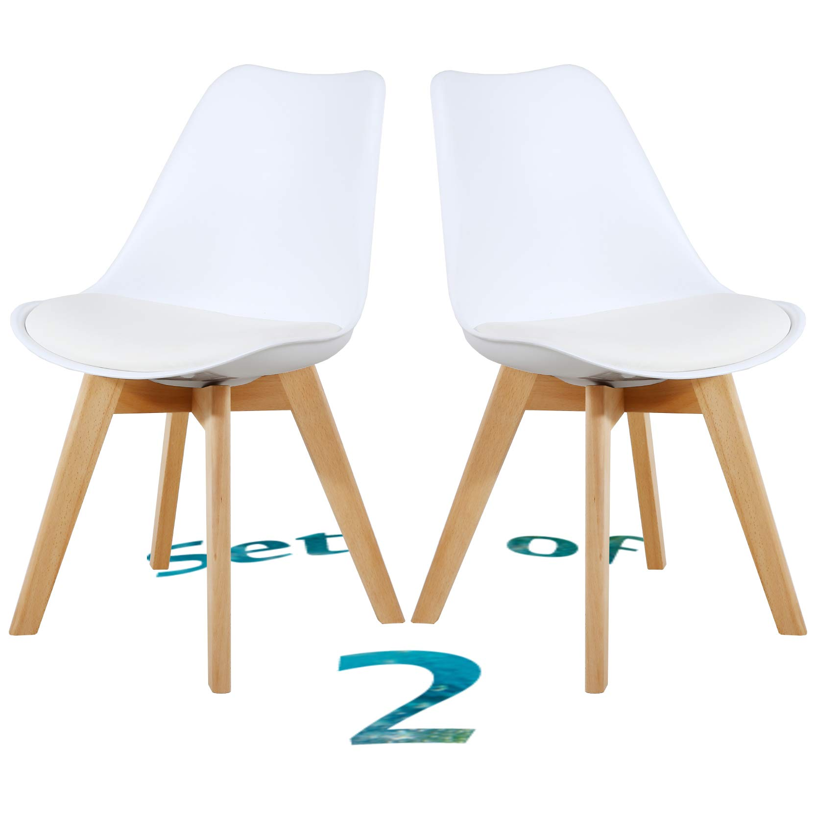 Set of 2 Eames Style Chair Dining Chairs, Shell Lounge Plastic Chair with Natural Wood Legs (White)