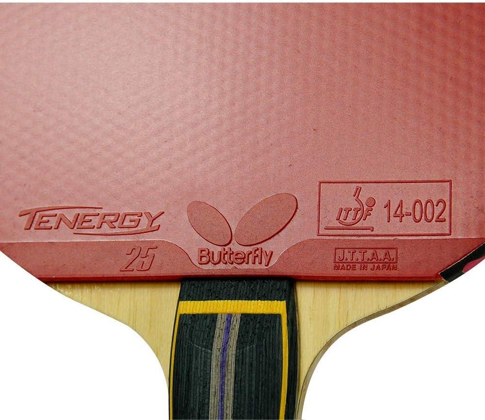 Amazon Com Mariposa Zhang Jike T5000 Fl Blade Con Tenergy 25 2 1 Proline Raqueta De Tenis De Mesa Color Rojo Negro Sports Outdoors