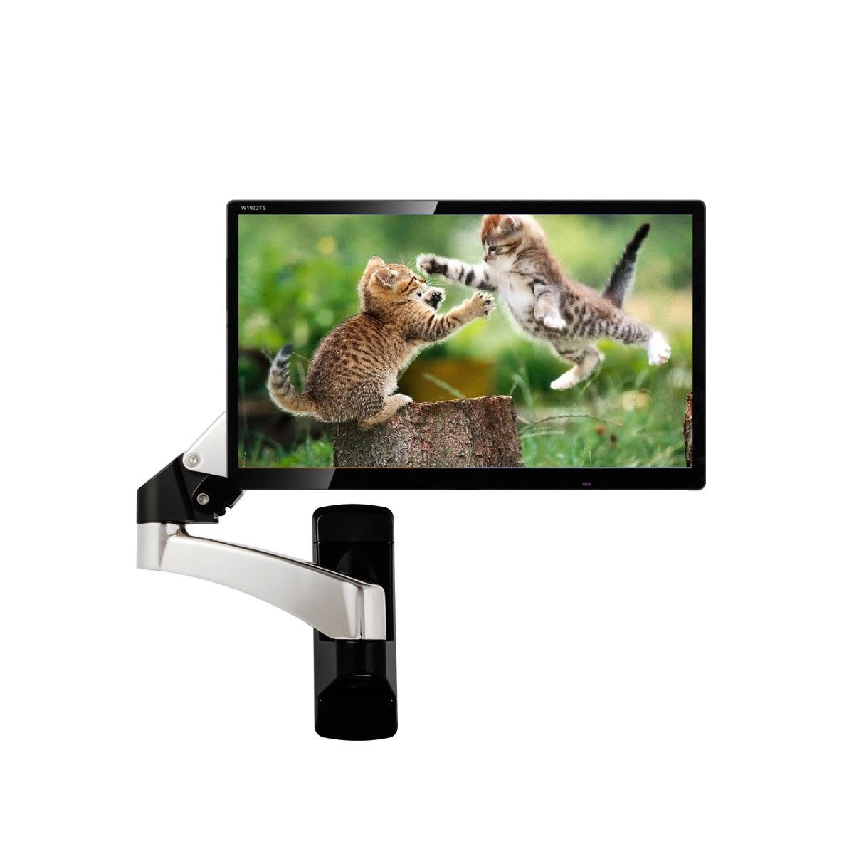 Tangkula Monitor Wall Mount Hydraulic Adjustable Articulating Extension for 32 To 42'' Up To 51lbs TV Monitor Bracket Silver