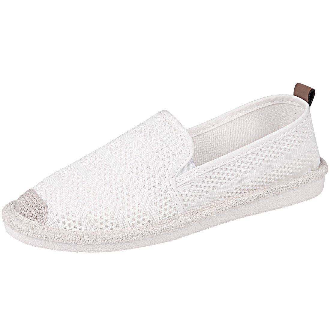 Women's White Mesh Slip On Loafer Casual Flats Walking Espadrille Sneakers