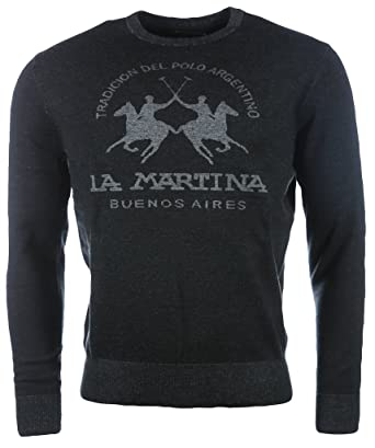 La Martina Men's Crew Neck Mixed CO/Merino G.14 Crew Neck Long Sleeve