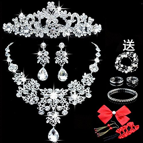 Generic 2018 crown tiara bride wedding accessories Korean headdress hair accessories wedding dress necklaces earring jewelry sets