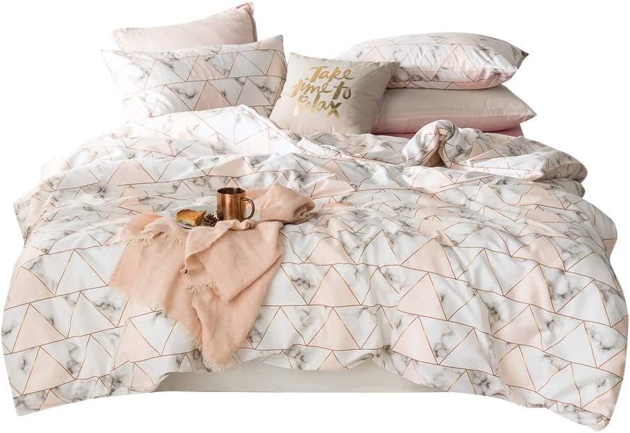 Marble Duvet Cover Set Queen Triangles Geometric Pattern Print Luxury Reversible Bedding Set White and Pink Nordic Modern Quilt Comforter Cover with Zipper