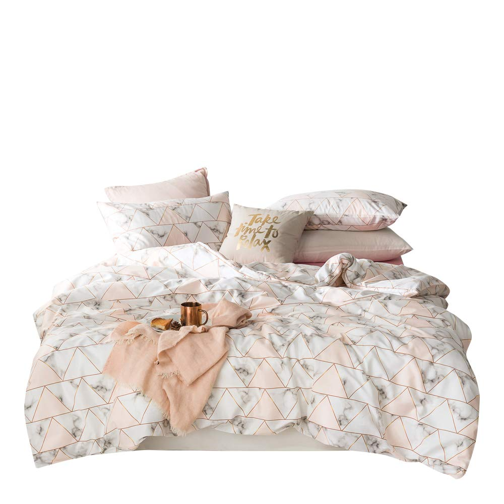 Marble Duvet Cover Set Twin Triangles Geometric Pattern Print Luxury Reversible Bedding Set White and Pink Nordic Modern Quilt Comforter Cover with Zipper