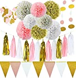 Party Decorations Supplies ~ Engagement Bridal Shower Decoration 1st Birthday & Baby Shower Kits - INSTRUCTIONS White Pink Gold Tissue Pom Pom's Garlands Banner - Wedding Heart garland & tassels
