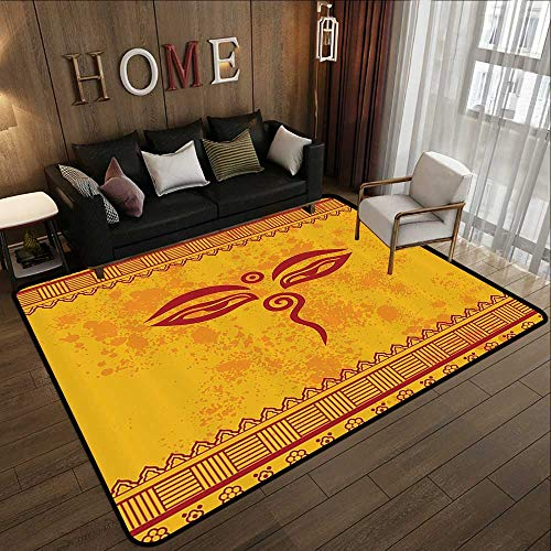 - Indoor Outdoor Rugs,Ethnic Grunge Decor Collection,Traditional Eyes and Asian Tibetan Henna Design,Paprika Yellow Red 35