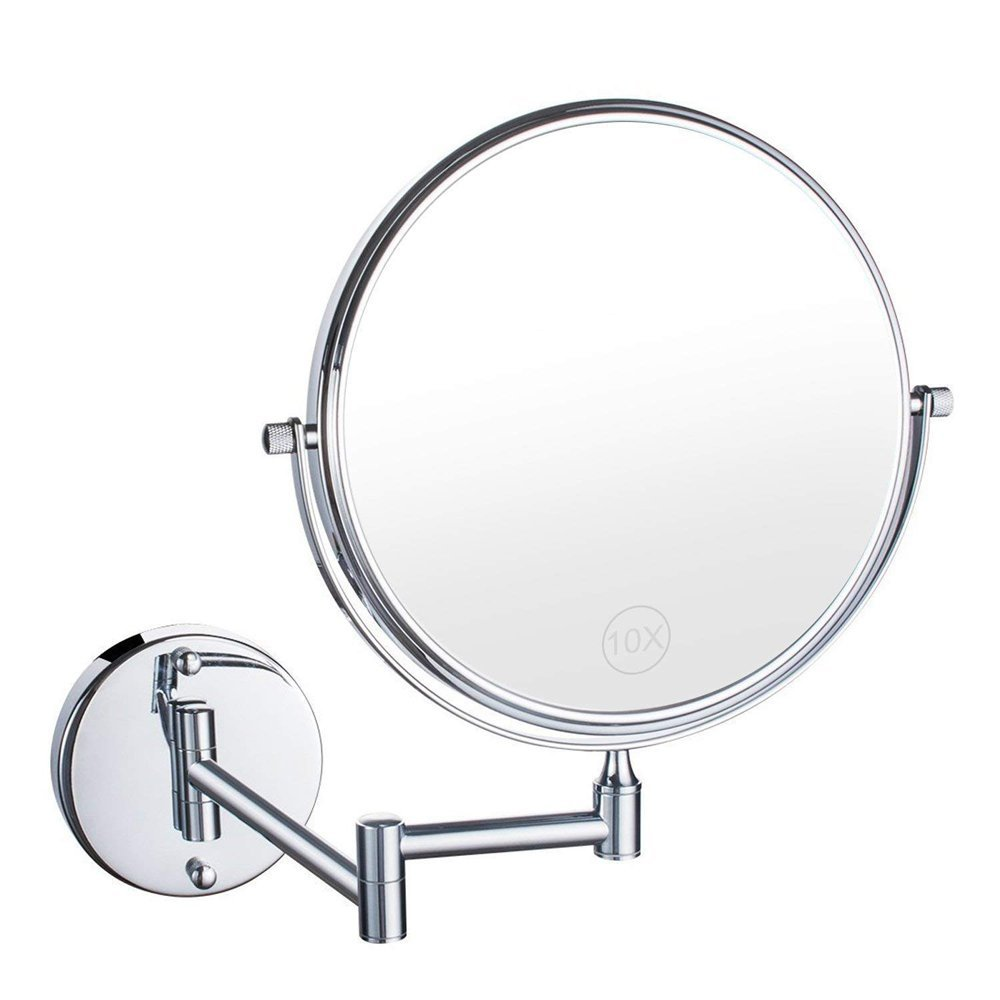 AORAEM 10X Bathroom Vanity Magnifying Mirror, Makeup Round Wall Mounted 8 inch Double-Sided Cosmetic Mirror Swivel, 360° Rotatable Extendable Arm Bath, Spa Hotel (10X)