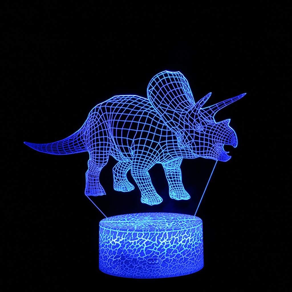 TianranRT Dinosaurier - Lámpara LED 3D iluminada para escritorio, luz nocturna, con 7 cambios de color, Blanco: Amazon.es: Bricolaje y herramientas