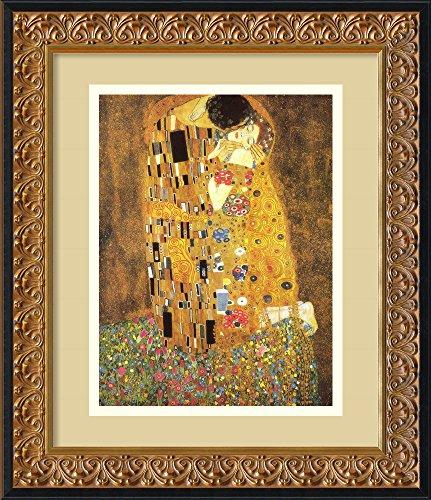 Kiss Framed - Framed Art Print, 'The Kiss (Le Baiser / Il Baccio), 1907' by Gustav Klimt: Outer Size 14 x 17