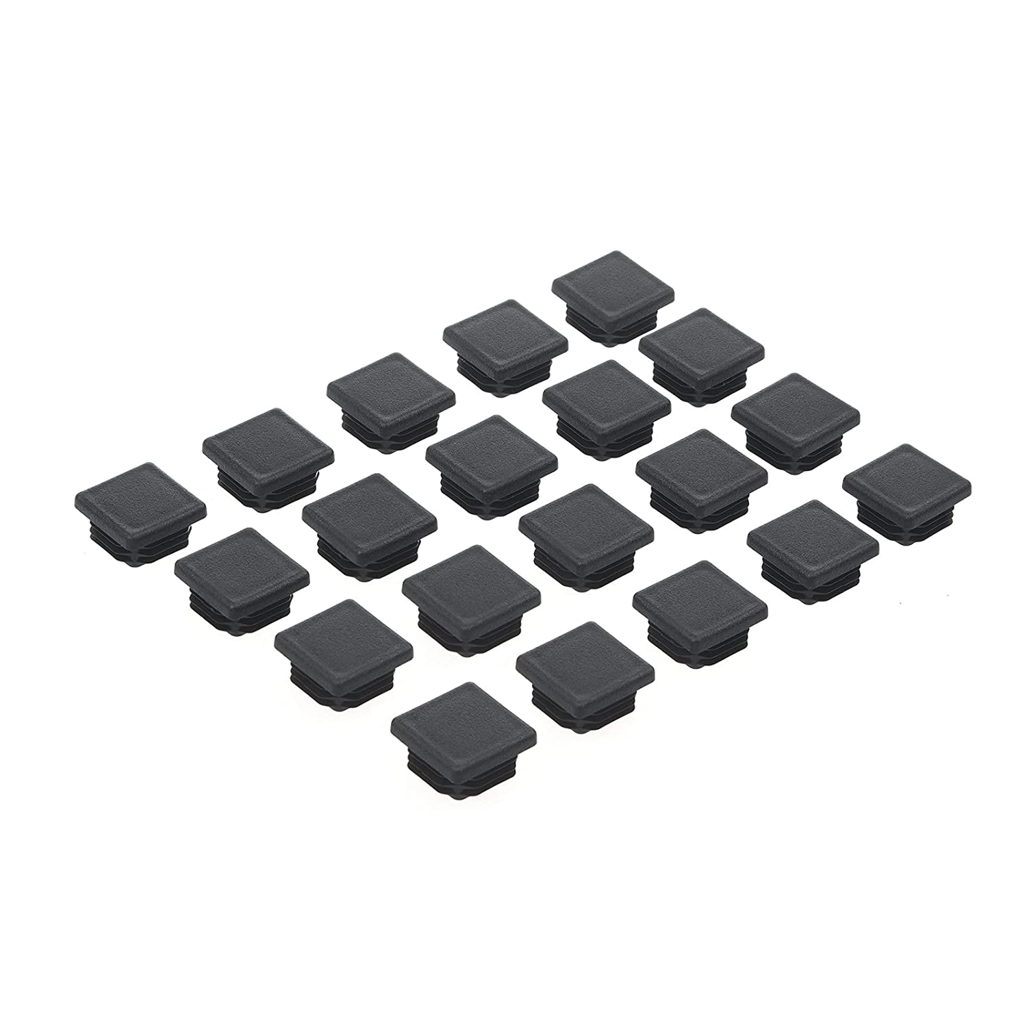 """3/4 Inch Square Tubing End Cap, 20Packs Plastic Plug 3/4"""" x 3/4"""", Durable Furniture Chair Glide Cover Insert Plugs, Great End Caps for Pipe Tube, Fencing Post, Fitness Equipment and More"""