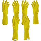 Arrison 3 Pairs Rubber Hand Gloves Reusable Washing Cleaning Kitchen Garden (color may vary)