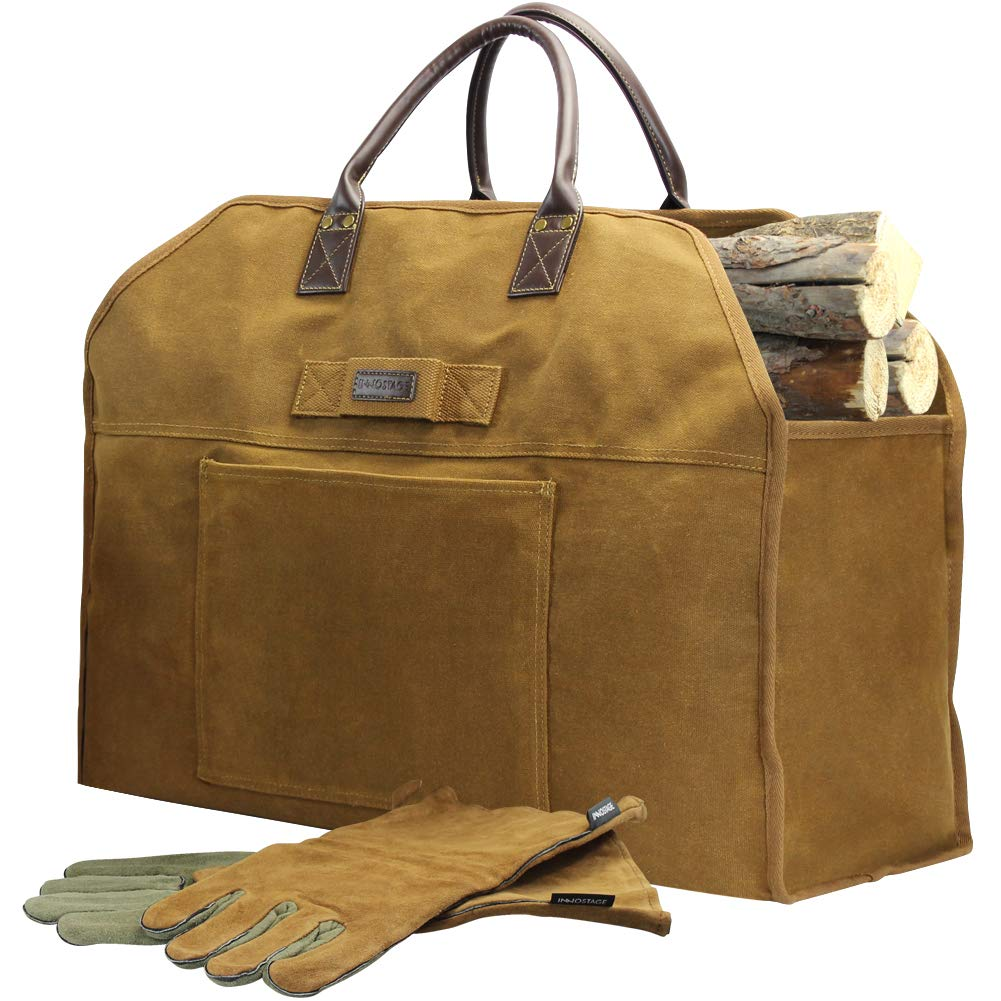 INNO STAGE Firewood Log Carrier Bag Waxed Canvas Tote Holder with Fireplace Pure Leather Gloves- Rust Bag by INNO STAGE