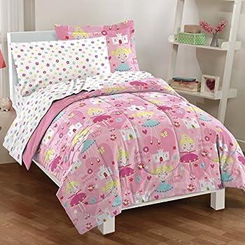 Dream Factory Pretty Princess Ultra Soft Microfiber Girls Comforter Set, Pink, Twin