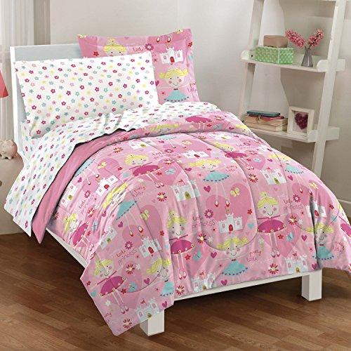 Dream Factory Pretty Princess Ultra Soft Microfiber Girls Comforter Set, Pink, Full