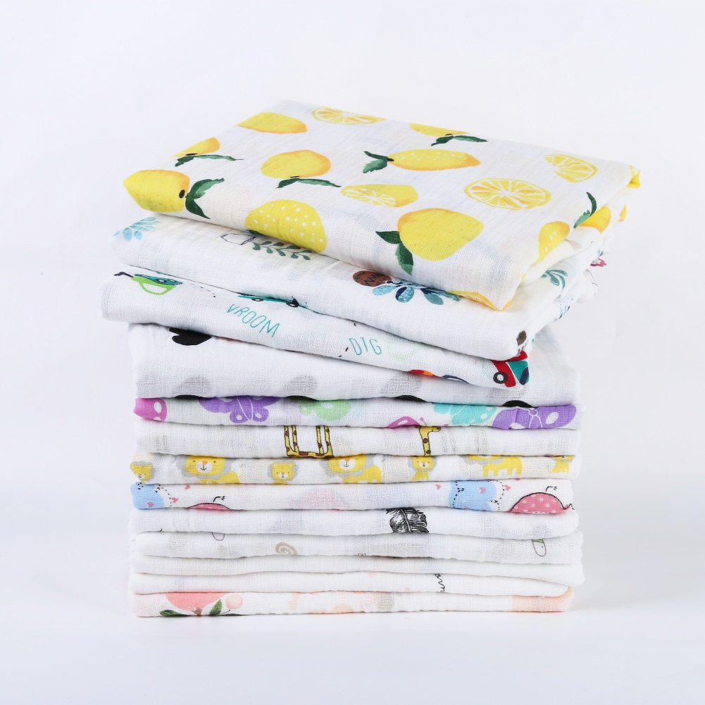 120CM Baby Swaddle Blankets BOBORA Newborn Baby Double Layered Muslin Swaddle Blankets Infant Cotton Wrap Bedding Blankets 120