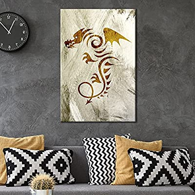 Canvas Wall Art - Abstract Dragon Pattern on Grunge Background - Giclee Print Gallery Wrap Modern Home Art Ready to Hang - 12x18 inches