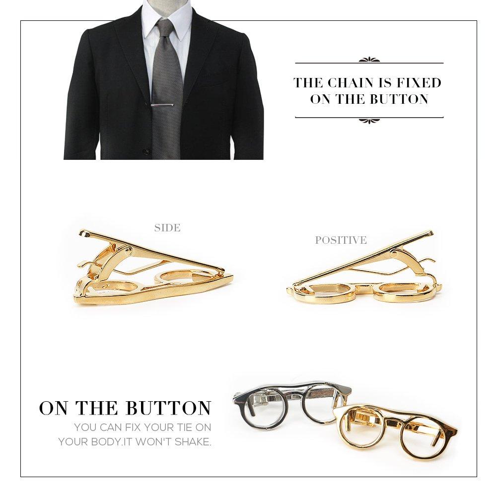 Tie Clip Set, Necktie Clips for Men Tie Bar Clips Tie Pins Set Necktie Bar Pinch Clip Set for Regular Wedding Business (Glasses Shape Necktie Clip) by Sarissa (Image #2)