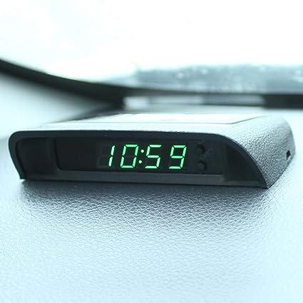 Talogca Auto Digitaluhr Solarbetrieben Uhr Mit Eingebauter Batterie Fahrzeug Armaturenbrett Uhr Autodekoration Elektronisches Zubehör Küche Haushalt
