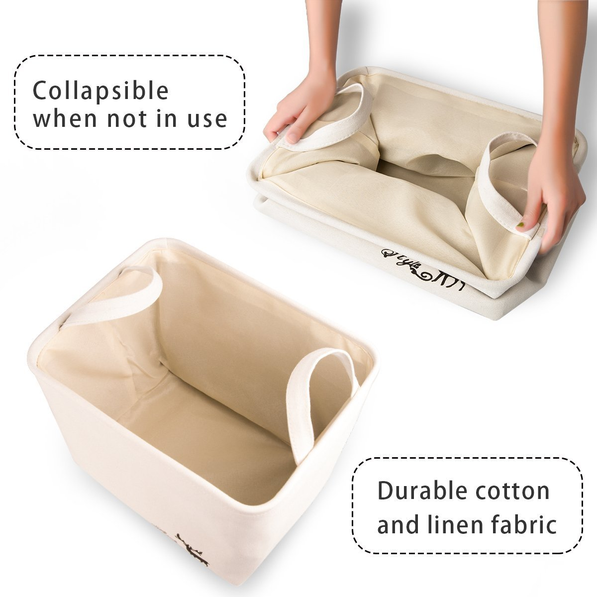 WISHPOOL Collapsible Storage Bin Baskets Foldable Canvas Fabric Storage Cube Bin Set With Handles For Home Laundry Closet (2-PACK 2) …