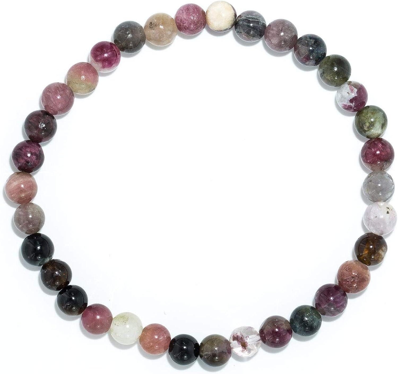 Taddart Minerals – Pulsera colorida de la piedra preciosa natural sandía turmalina con bolas de 6 mm montadas en hilo de nailon elástico – hecha a mano