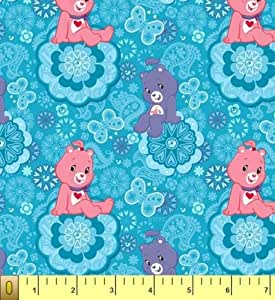 Cute care bears blue childrens kids fleece for Kids fabric by the yard