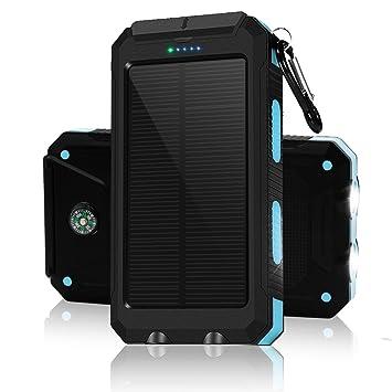 10000mAh Cargador Solar, Puerto USB Dual Banco de energía solar con luz 2Led Compás incorporado Cargador portátil portátil del teléfono del panel para ...
