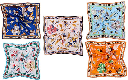 Petite Bouquet Pattern - Grace Scarves 100% Silk Scarf, Petite Square, Charmeuse, Set of 5, Elegant Bouquet