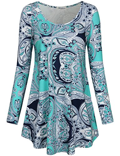 Faddare Womens Tunic Tops, Juniors Scoop Long Sleeve Floral Pleated Dress Shirt,Paisley Blue S