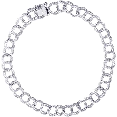 """77a9e1baacfab9 Rembrandt Charms, 7"""" Twisted Double Link Curb Classic Charm Bracelet.925  Sterling Silver"""