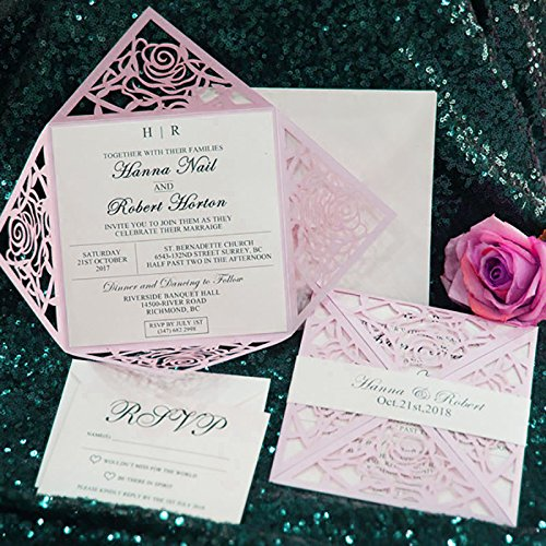 10 Set/Pack 2018 Design Flower Pink Wedding Invitations Rose Blank Print Lace Laser Cut Invitation Cards RsvP Cards Send Seal