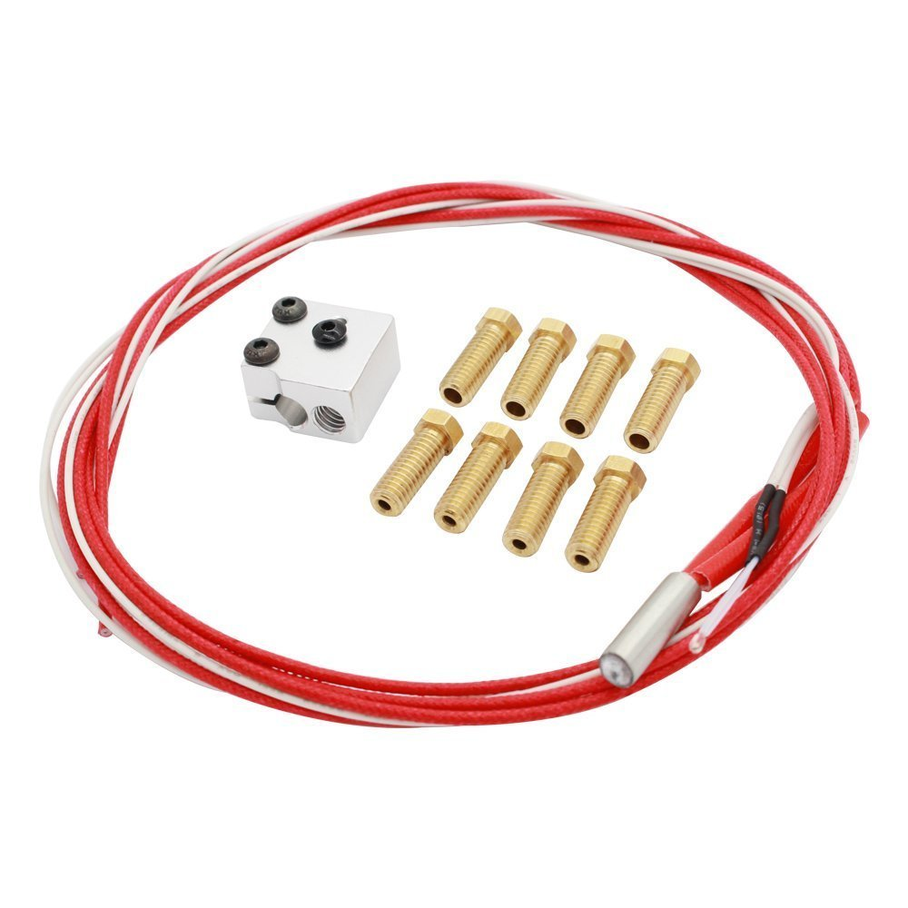 Wangdd22 High Speed V6 Print Pack for RepRap 3D Printer 1.75/3mm Filament Metal Hotend Volcano Extra Nozzles + Heater Block+NTC 3950 Thermistor by Wangdd22 (Image #2)