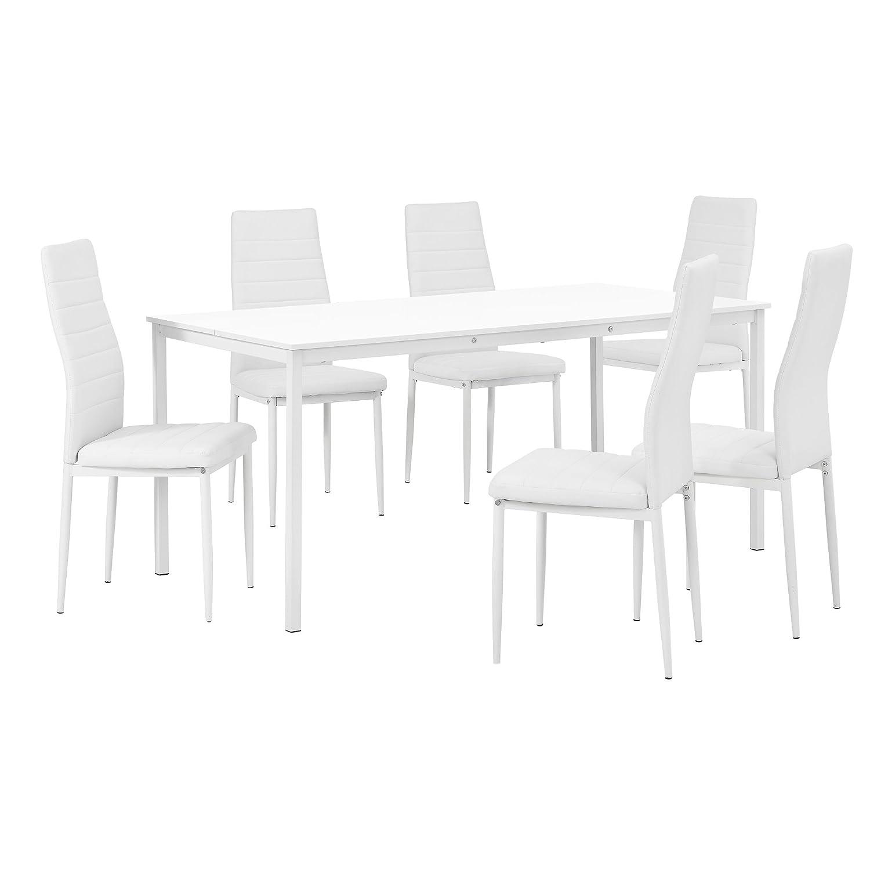 Tavoli Da Sala Da Pranzo 160cm X 80cm Tavolo Da Pranzo Bianco Di Alta Qualita Con 6 Sedie Imbottite Bianche En Casa Casa E Cucina Cumbresbox Cl