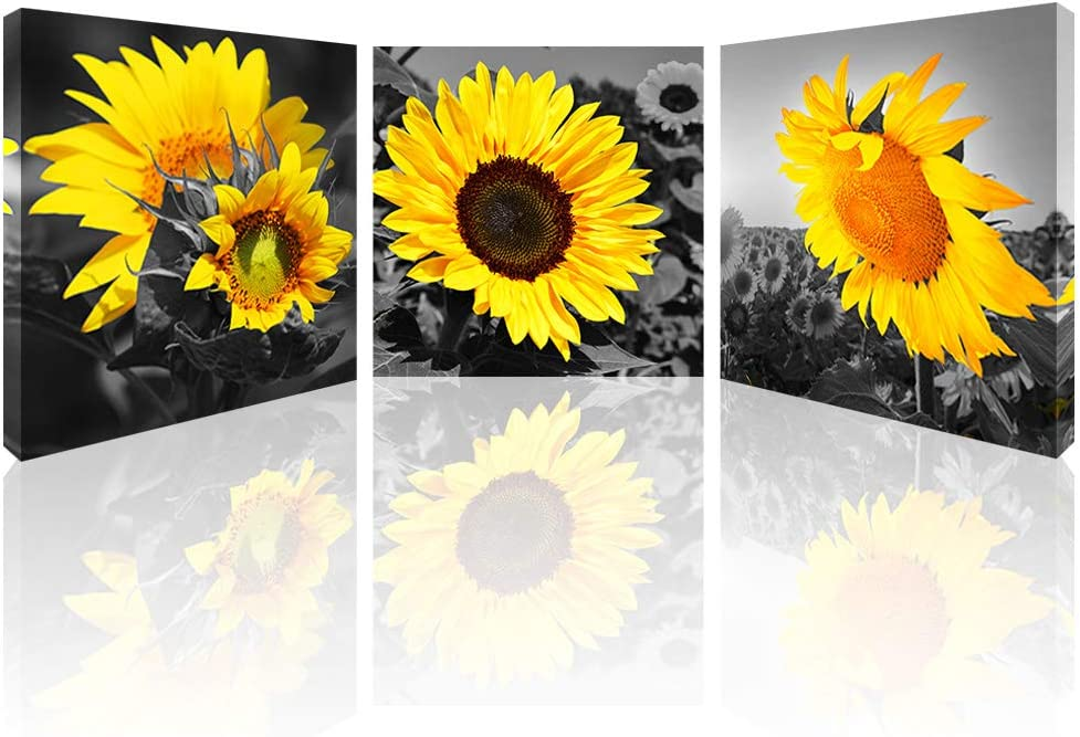 """Sunflower Canvas Wall Art for Living Room Flower Canvas Prints Black and White Bathroom Wall Decor Yellow Sunflowers Pictures Giclee Prints on canvas for Kitchen Bedroom Home Decorations 12""""x12""""x3 Pcs"""