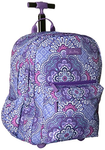 Vera Bradley Women's Lighten up Rolling Backpack, Lilac Tapestry (Vera Bradley Wheeled Luggage)