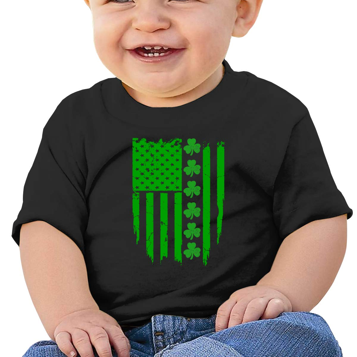 Qiop Nee Big Irish American Flag Short Sleeve T-Shirt Baby Boys