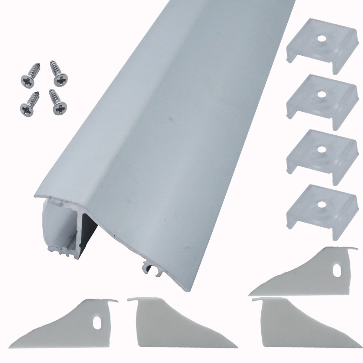 Litever 4 Pack 1M/3.3ft Aluminum LED Channels for