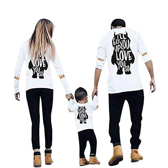 Lenfesh Blusas para Mujer, Madre Padre Niño Ropa Familiar Padres e Hijos Camisetas Impresión del Monstruo de Mujeres Camisa Manga Larga Personalidad Blusa ...