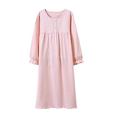 ad41866f96 Amazon.com  Tortor 1Bacha Kids Girls Cotton Nightgown Long Sleeve Solid  Sleepwear Top Dresses Pink White  Clothing