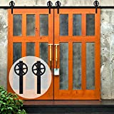 Double Door Sliding Barn Door Hardware Track Kit Basic Big Black Spoke Wheel Roller System 12FT /144'' 2 Doors Track Kit