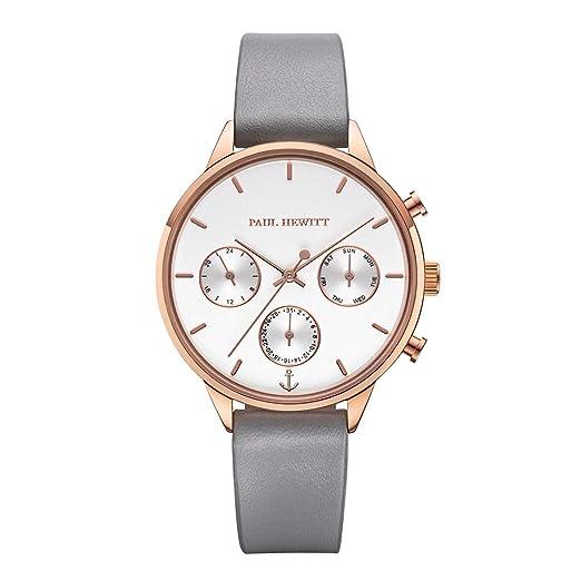Paul Hewitt Everpulse Line - Reloj de Pulsera para Mujer (Correa de Piel), Color Blanco y Dorado: Amazon.es: Relojes