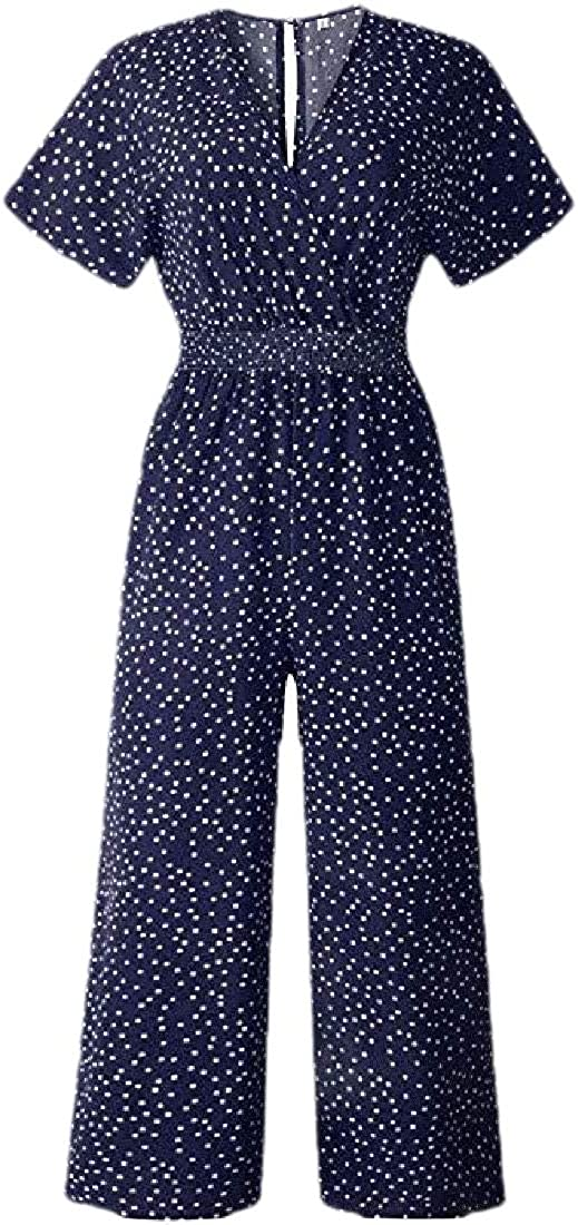 Women Casual V-Neck Wide Legs Long Pant Jumpsuits Rompers with Pockets