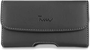 iPhone 8 Pouch Case, Sideway Leather TMAN [Pouch] case [Holster] with Belt loot & Clip for iPhone 8 / iPhone 7 / iPhone 6 (Fits The Phone with Thick Hybrid case/Otter Box case on),