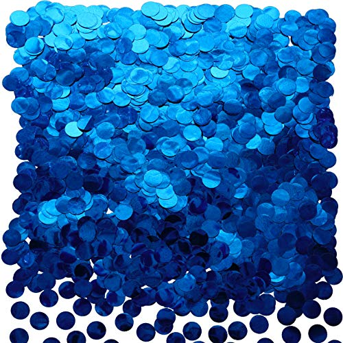 Blue Foil Metallic Round Table Confetti Decor Circle Dots Mylar Table Scatter Confetti Wedding Bachelorette Under the Sea Baby Shower Birthday Party Confetti Decorations, 50g -