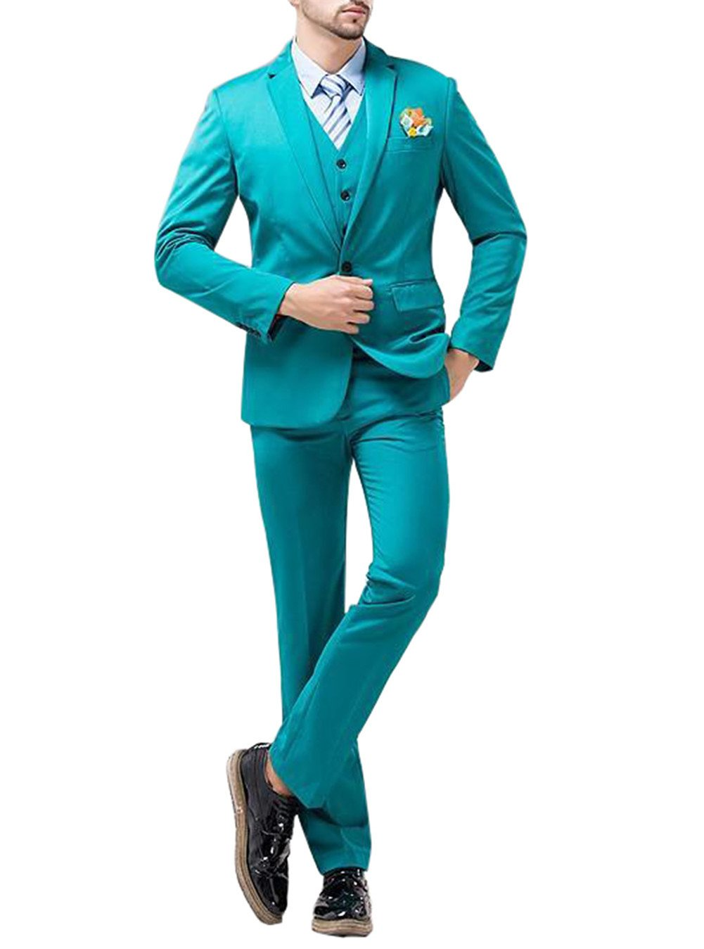 GEORGE BRIDE Men's Casual Blazer Party Suit Groomsman's Suits 11 Color to Choose,XL,Turquoise