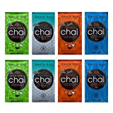 David Rio Chai Tea Mix Single Serve Sampler Pack - 2 Tortoise Green, 2 White Shark, 2 Elephant Vanilla, 2 Tiger Spice