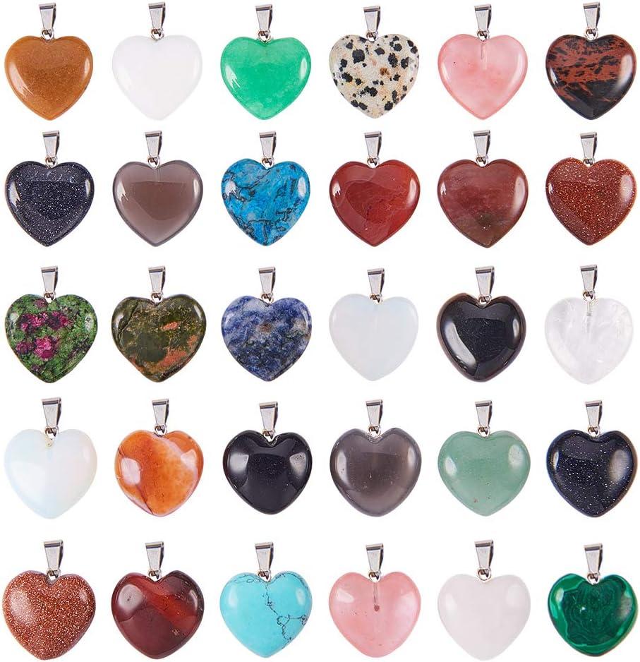 PandaHall Elite - Colgantes de piedras preciosas en forma de corazón de colores surtidos con detalles de latón en tono platino para pulseras y collares, 2 Size Heart-30pcs, 2 Different Size